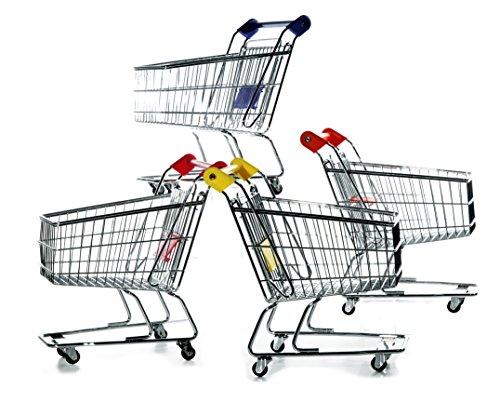 hibuy Mini Deko Supermarkt Einkaufswagen aus Metall, Gitterwagen Kinder Spielzeug, Geschenkidee, Wichtelgeschenk, 22cm Lang, Farbe: blau