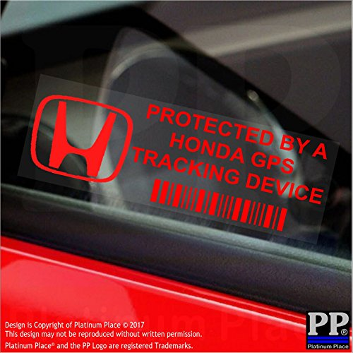 """5 Stück, 87 x 30 mm große Fensteraufkleber von Platinum Place """"GPS Tracking Device Security"""" (mit rotem Schriftzug in englischer Sprache), für Auto/Van"""