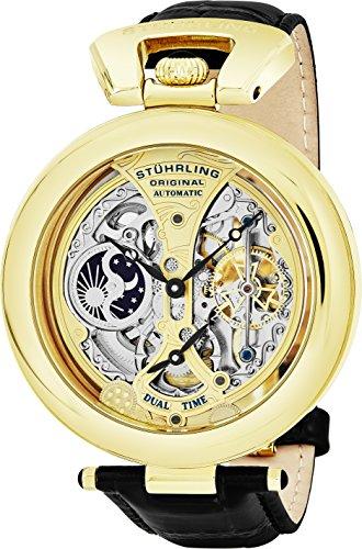Stuhrling Original 127A.333531 - Montre Automatique - Affichage Analogique - Bracelet Cuir Noir et Cadran Multicolore - Hommes