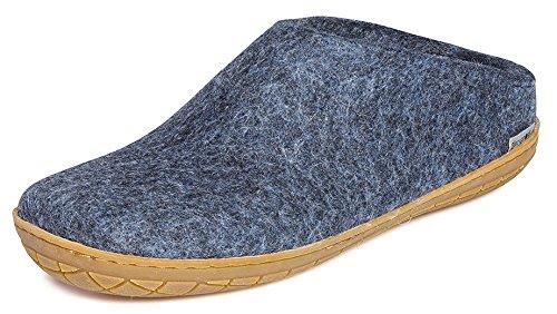 Glerups Modell BR Modischer Erwachsenen Hausschuh für Damen & Herren aus Wolle, Rutschfester Gummisohle, hinten offen, entspricht dem Modell B nur mit Gummisohle Blau (Denim), EU 39