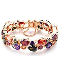Yazilind Buckle Bracelet Rose Gold Plated Beautiful Color Zircon Armreif Party Jewelry For Women Girls NsC6NLM