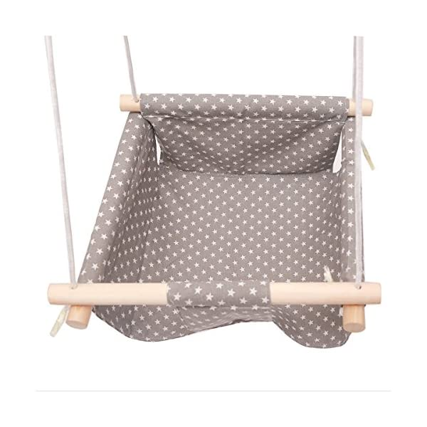 """HB.YE Handmade Safety Canvas Baby Swing Chair, Portable Hanging Seat Hammock for Toddlers, Indoor Outdoor Baby Hammock Chair 