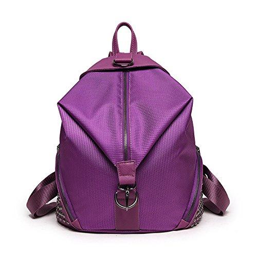 Mefly Donna Moda Seta Femmina Impermeabili Rivetto Zaino Borsa Versione Femmina Arancione Di Personalità Deep purple