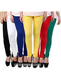 Pixie Women's Soft And 4 Way Stretchable Sleepwear Churidar Leggings Combo (Pack Of 6) Black, White, Blue, Yellow...