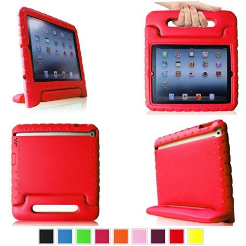 Aeontop Carry Maniglia Caso/ Custodia di EVA con Supporto e Manico/ Custodia Protettiva Antiurto con Supporto per Bambini per Apple iPad 2/3/4, Pellicola di Protezione e dello stilo Incluse,Rosso