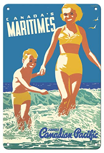 Pacifica Island Art Kunstdruck Canada's Maritimes - St. Andrews by The Sea - Canadian Pacific - Vintage Ocean Liner Travel Poster by Peter Ewart c.1950 - Fine Art Print 8 x 12 in Tin Sign Mehrfarbig -