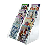 Clear Acrylic 4 Tier Greeting Card Stand for Retail Display Counters (DS42/300)