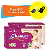 Premium Champs High Absorbent Premium Pant Style Diaper (Pack Of 2) (Free Pair Of Secret And Loafer Socks)| Premium Pant Diapers | Premium Diapers | Premium Baby Diapers | Anti-rash And Anti-bacterial Diaper | (Large, 34)