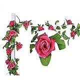 Künstlich Rose Blatt Efeu Girlande Blumen Dekoration (Rosa Rose)