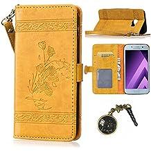 PU pour Samsung Galaxy A5 (2016) A510 Bookstyle Étui fleurs Fleur Housse en Cuir Case à rabat pour (Samsung Galaxy A5 (2016) A510 (5.2 pouces)Coque de protection Portefeuille TPU Case (+Bouchons de poussière) (5)
