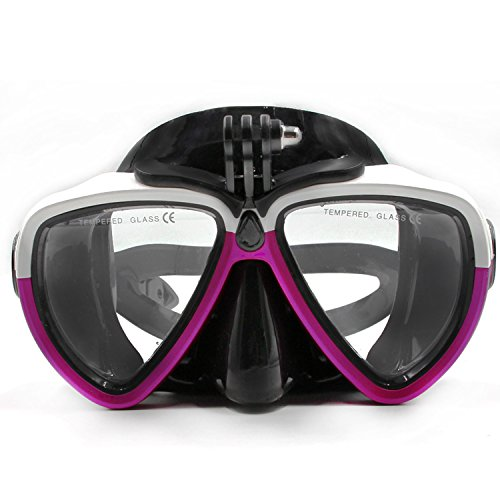 jeerui amovible en verre de plongée en silicone avec support à vis Combinaison de plongée masque tuba de plongée Lunettes de natation pour caméra de sport GoPro HD Hero 233+ 4SJCAM Xiaomi Yi (Blanc & Violet)