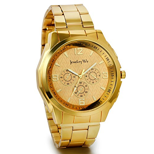 JewelryWe Herren Armbanduhr, Edelstahl Legierung, Luxus Elegant Business Analog Quarz Uhr mit Gold Digital Zifferblatt