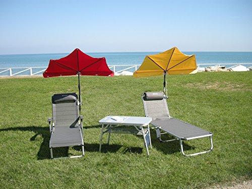 Les terrasses de jardin sET sont loisirs-tERASSENLIEGE jAN kURTZ chaise longue sAMBA 5,4 kG seulement-couleur : gris-argenté-oUTDOOR chaise longue fussteil suspension avec dossier haut-charge maximale : 120 kG-châssis en aLUMINIUM-sTABIELO fächerschirm cITRONEN holly-jaune-holly sunshade ®-système breveté innovation fabriqué en allemagne-disponible également en n et pistache fÄCHERSCHIRME voir fARBTABELLE-tAUPE zANGENBERG hUSUM -