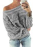 YOINS Schulterfrei Oberteile Damen Herbst Winter Off Shoulder Pullover Pulli für Damen Loose Fit mit Blumenmuster Grau-1 L
