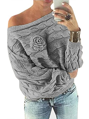 YOINS Schulterfrei Oberteile Damen Herbst Winter Off Shoulder Pullover Pulli für Damen Loose Fit mit Blumenmuster Grau-1 M