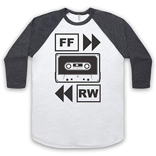 Fast Forward Tape Cassette 3/4 Hulse Retro Baseball T-Shirt Weis & Dunkelgrau
