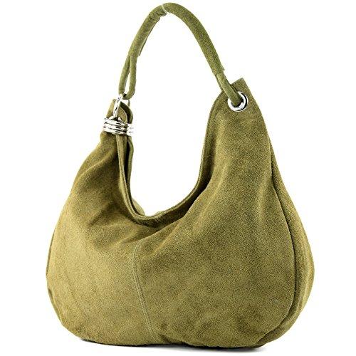 Borsa A Tracolla Shopper Donna In Pelle Scamosciata Big T02 Verde Oliva
