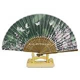 ChicEver Fächer Handfächer aus Bambus & Stoff, grün, Blumen Schmetterlinge 6797
