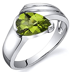 Revoni Contemporary Pear Shape 1.25 carats Peridot Ring in Sterling Silver Size J,