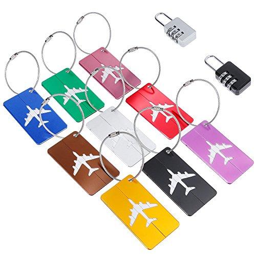 Anpro kit de 9 Etiquettes de Voyage Aluminium Avion Modèle 2PCS Cadenas de Bagage Portes-Etiquette Pour Valises,Bagages-7 Couleurs