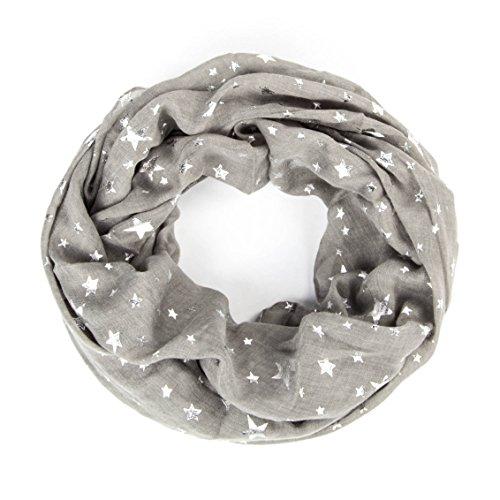 ManuMar Loop-Schal für Damen   Hals-Tuch mit Sterne-Motiv als perfektes Sommer-Accessoire   Schlauch-Schal in Grau Sterne Glitzer Silber - Das ideale Geschenk für Frauen (Silber-schlauch)