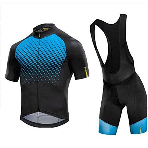 GWJ Herren/Damen Radtrikot Half Sleeve Racing Team Atmungsaktive Biking Top + Fahrrad Reithose Shorts Gesetzt,Blue,L