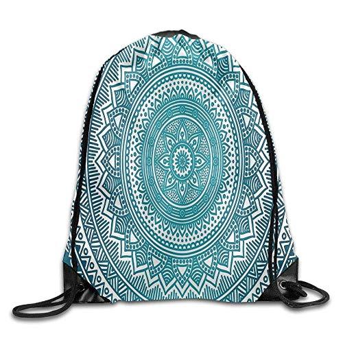 Sporttasche mit Kordelzug, Sportrucksack, Reiserucksack, Turquoise Ombre Mandala Medallion Starry Design with Flower In Middle Ethnic Ethnic Bags Running Backpack - 8 X 10-medallion