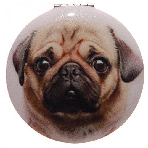 Miroir de poche rond avec motif chien carlin - Modèle rond