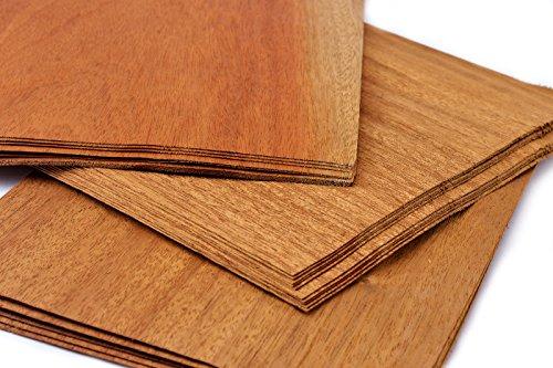 Impiallacciature 15-17 in legno di mogano, quantità totale per set: 0,8 m² di impiallacciatura pregiata. Ideali per: modellismo, riparazioni, foto, regali, cartellini dei prezzi, bricolage, intarsi