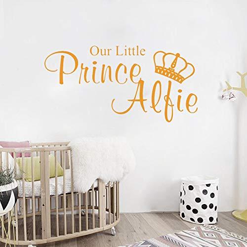 jiuyaomai Prince personalisierte Name Wall Sticekrs für Kinderzimmer Jungen Schlafzimmer Wall Decal Vinyl unser Kleiner Prinz Baby Geschenk Name Decor 75x38cm Prince Black Jacke