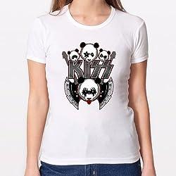 Camisetas Mujer/Chica - Diseño Original - Camiseta Chica - Panda Kiss Rock Band - S