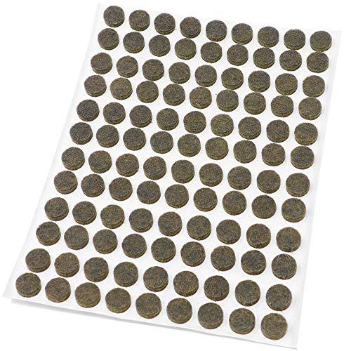 Adsamm® | 108 x Filzgleiter | Ø 10 mm | Braun | rund | 3.5 mm starke selbstklebende Filz-Möbelgleiter in Top-Qualität