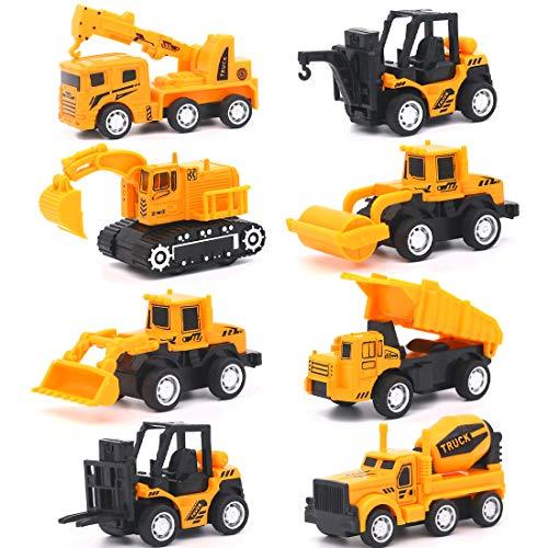 Vehicules de Chantier Petite Tirer la Voiture Miniature Camion Jouet Jeu de Construction à Friction pour Enfant 3 Ans, 8 pièces Set