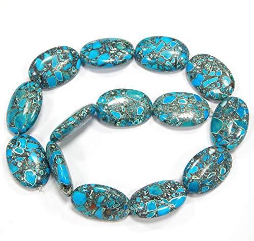 Perlin G159 Lot de 14 Perles de Pierre précieuse Ovale avec Trou pour refaire la Pierre précieuse Bleu 28 x 18 mm