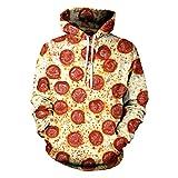 Unisex Harajuku Impresión 3D Salchicha Queso Pizza Hip Hop Jersey Suelto Food Print Hoodies XXXL