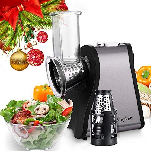 Lonlier Máquina para hacer Ensalada Eléctrica Máquina de Cortar Alimentos con 4 hojas de Cono para Frutas, Verduras y Quesos