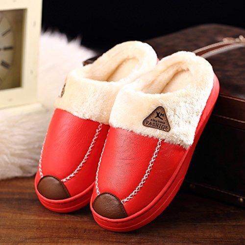 DogHaccd pantofole,Paio di pantofole di cotone femmina indoor invernale anti-slittamento soggiorno spessa in acqua calda-resistente pelle PU cotone felpato pantofole per uomini Il rosso2