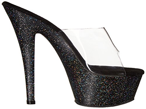 Pleaser Kiss-201mg, Sandali Donna Nero (Clr/Blk Glitter)