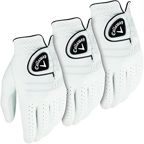 Callaway Tour Herren Golf Leder, LH 3-er Pack) Wei� wei� S - Pack of 3 (Tour Pack Leder)