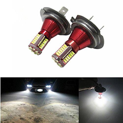 FEZZ LED Bombillas de Coche Auto LED H7 3014 57SMD Lamparas Iluminación Para faros antiniebla DRL 6000K Blanco (Paquete de 2)