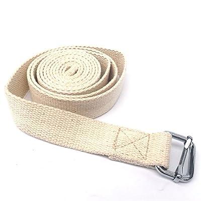 Prom-near Yoga Spannband 100% Baumwolle für bessere Dehnung - für Anfänger und Fortgeschrittene Yoga Gurt mit Verschluss aus Metall 183 * 2,5 cm
