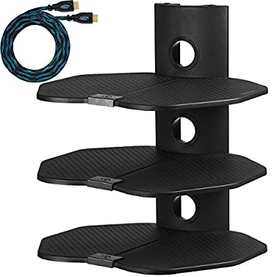 """Cheetah Mounts AS3B Three (3) Shelf TV Component Wall Mount Shelving Bracket with 18x16"""" (46x40cm) Shelf, 15' (4.5m) Twisted Veins HDMI Cable and Cable Management for Cable or Satellite Box, DVD Player, Game Station, Receiver, etc., and Compatible with al"""