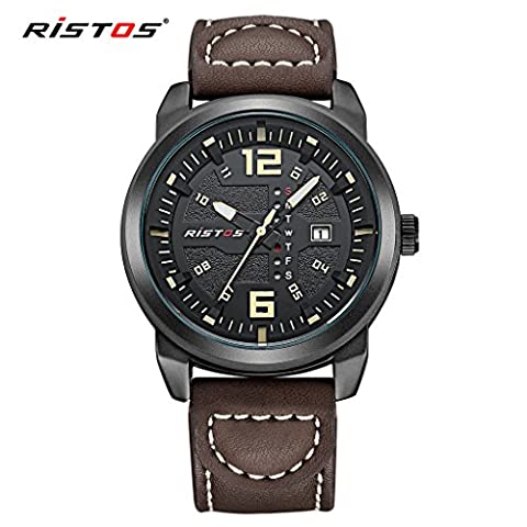 LONGBO Mens Unique Military Outdoor Brown Leather Band Analog Quartz Watches Cream Hands Dial Auto Date Calendar Wristwatch Sportive Waterproof Luminous Business Watch For Man
