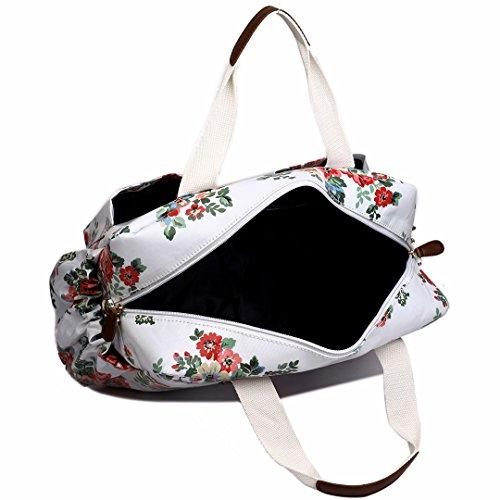 Miss Lulu, 4-teiliges Wickeltaschenset, mattes Wachstuch, geblümt und gepunktet oder andere Motive (schottischer Terrier, Schmetterlinge, Katzen, Elefanten), beige - Cat Beige - Größe: L Flower White