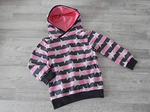 Hoodie Gr. 104 aus leichtem Sweat mit Streifen und Sternen rosa grau. Bündchen anthrazit meliert. 95% Baumwolle, 5% Elasthan - Jersey Girl Kinder Sweatshirt