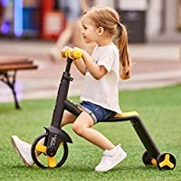 STRUCTOTA 3 in 1 Ride on Scooter Adjustable in Height Handle Non-Slip Surface Wheels 3 Wheels Scooter for Children…