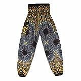 ELECTRI Pantalon de Yoga Sarouel Élastique Taille Leggings Pantalon de Sport pour Femmes/Hommes Yoga Fitness Taille Haute Imprimer Boho (Free Size, Noir C)
