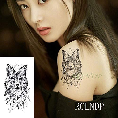 5pcs tatuaggio autoadesivo impermeabile animale lupo leone aquila tatto tatoo mano polso piede braccio collo tatuaggi per uomo donna arancione 10x7 cm