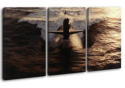 deyoli gewaltiges U-Boot Format: 3-teilig 120x80 als Leinwandbild, Motiv fertig gerahmt auf Echtholzrahmen, Hochwertiger Digitaldruck mit Rahmen, Kein Poster oder Plakat