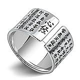 Epinki Herren Ringe 925 Silber Herrenringe Verlobungsringe Chinesische Buddhistische Schriften Bandringe Gr.61(19.4) bis Gr.67(21.3)